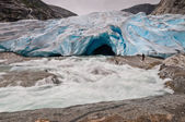 Jostedalsbreen glacier and glacial river with long exposure in N — Stock Photo