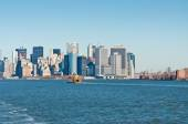 Staten Island Ferry with New York City Skyline — Stock Photo