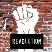 Grunge fist illustration on brick texture — Stock Vector