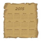 Aged scroll calendar 2015 — Stock Vector