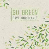 Go Green concept on recycled paper — Stock Vector
