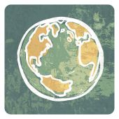 Earth grunge icon — Vector de stock