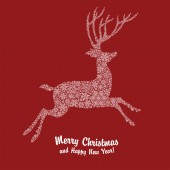 Christmas deer silhouette — Stock Vector