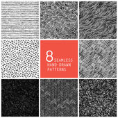 8 seamless hand-drawn patterns — Stock Vector