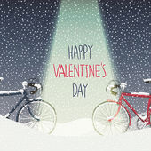 Valentines Card with Bicycles — Cтоковый вектор