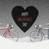 Valentines Card with Bicycles — Vecteur