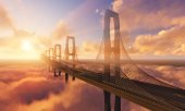 Bridge in Clouds with sun — Stock Photo