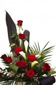 Red roses and calla lily — Stock Photo