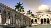 Arabian palace with palm trees — Stock Photo