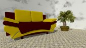 Yellow sofa with green plant in the room — Fotografia Stock