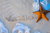 Art starfish and flip flops on a tropical beach. Summer vacation — Stock Photo