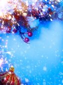 Art Christmas background with fir twigs on snow — Stock Photo
