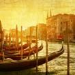 Art Venice, Italy. Gondolas on Grand Canal, Italian Canal Grande — Stock Photo #56883495