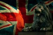 Art british lion on Union Jack background — Stockfoto