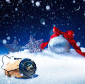 Art snow christmas background  new years eve — Stockfoto