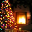 Art Christmas scene with tree gifts and fire in background — Foto Stock #57819767