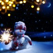 Art Christmas night - background with  snowman in the snow — Stock Photo #59514037