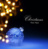 Art Blue Christmas ball and Christmas holidays lights — Stock Photo