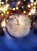 Art Christmas Eve and New Years at midnight — Stock Photo