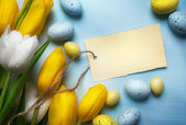 Art Easter eggs on wooden table background  — Foto de Stock