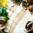 Art fresh vegetables and spices on the wooden background — Stock Photo #80401804