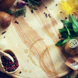 Art fresh vegetables and spices on the wooden background — Stock Photo #81797736