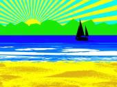 Beach and sun — Stock Vector