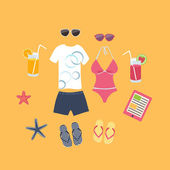 Summer vacation set of icons — Stock Vector