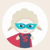 Cute cartoon sheep Super Hero — Stock Vector