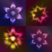 Set of Christmas stars shaped with light — Stock Vector