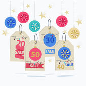Set of colorful New Year Sale labels — Stock Vector