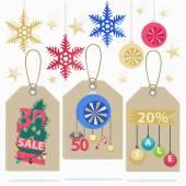 Renkli yeni yıl satış etiket kümesi — Stok Vektör