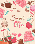 Sweet Life Text Surrounded by Sweets Graphics — Stock Vector