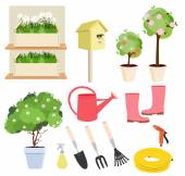 Spring gardening set — Stock Vector