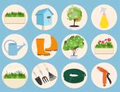 Spring gardening icons set — Stock Vector