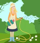 Young woman watering flowers in a garden — Vetor de Stock