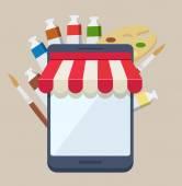 Purchasing online supplies from an art shop — Stock Vector