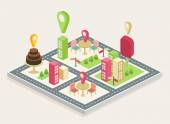 Isometric view, a three-dimensional map of a big city — Stock Vector