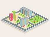 Isometric view, city — Vetor de Stock