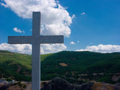 White cross in Meteora — Stock Photo