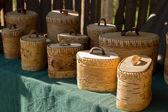 Boxes made from birchbark — Stockfoto