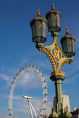 An ornate lamp post on Westminster Bridge — Stock Photo