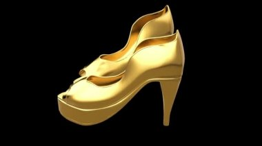 Gold female high-heeled peep toe shoes — Stock Video
