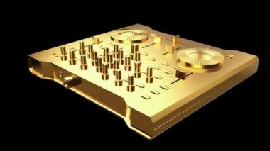 Gold DJ Console workstation — Стоковое видео