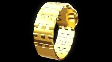 Gold wristwatch with a rectangular dial — Stock Video