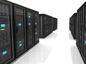 3d illustration of network server raks — Stockfoto