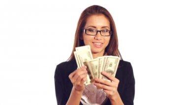 Businesswoman holding her money — Stock Video