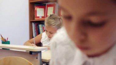 Schoolchildren writing task — Αρχείο Βίντεο