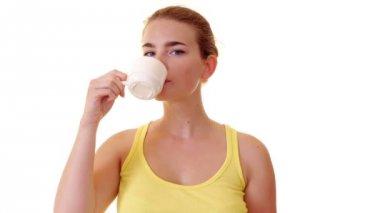 Woman drinking tea — Stock Video