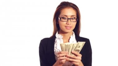 Successful businesswoman's wages — Stock Video